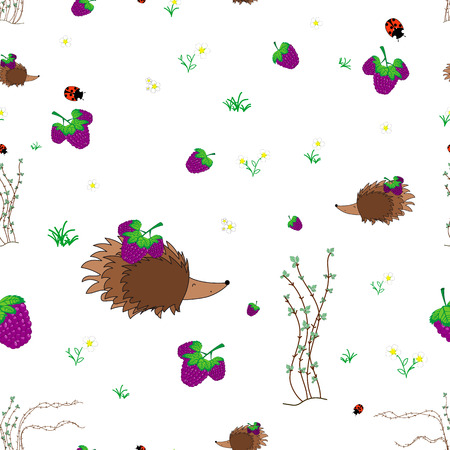 thorn bush: berry meadow with animals seamless pattern. Forest background for kids. Print for children Illustration