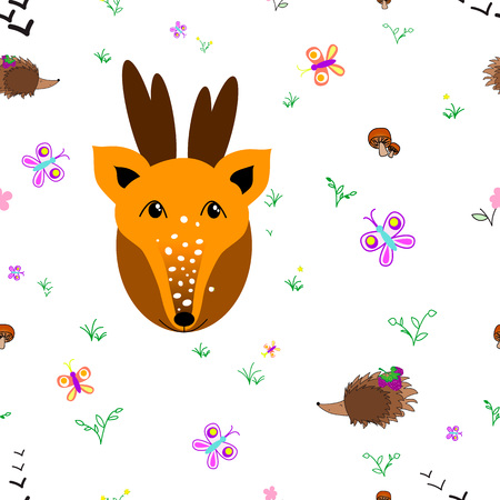 thorn bush: Deer with animals seamless pattern. Forest background for kids. Print for children