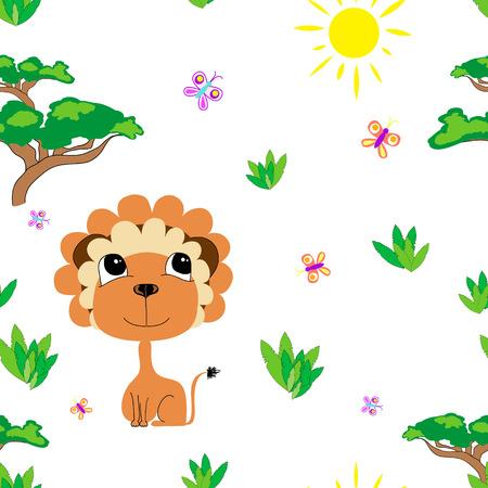 León En La Sabana. Imprimir Para Los Niños. Fondo Para Los Niños ...