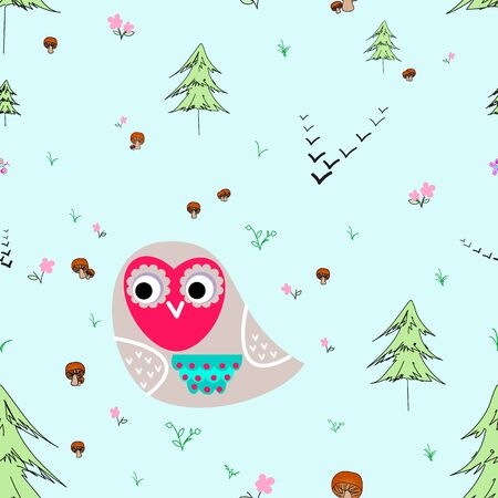 thorn bush: Owl with animals seamless pattern. Forest background for kids. Print for children