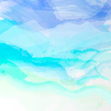 水彩の抽象的な背景。色鮮やかなブルーのテンプレート図