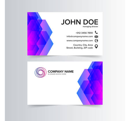 modern business card with blue and purple geometric shapes