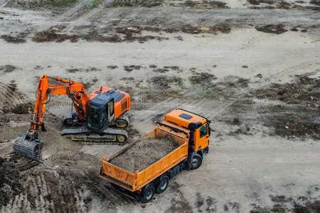 digger excavator is work dig ditch truck