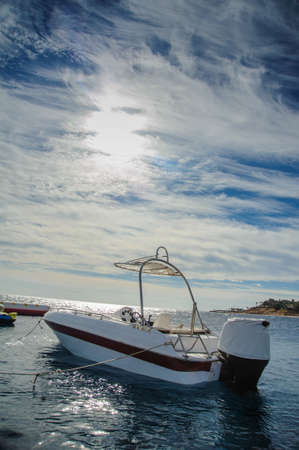 boat in red sea nice blue sky beautiful view Stock Photo