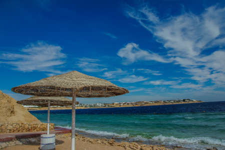 sunshade beach red sea blue sky beautiful view in tropical location Stock Photo
