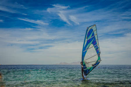 wind surfing: wind surfing background relaxtion in red sea beautiful Stock Photo