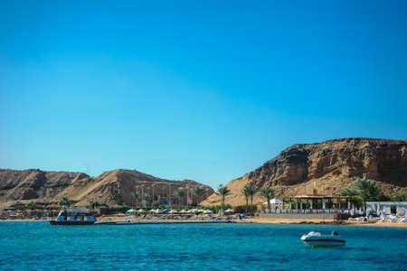 blue sky blue sea mountain in sea nice background sand