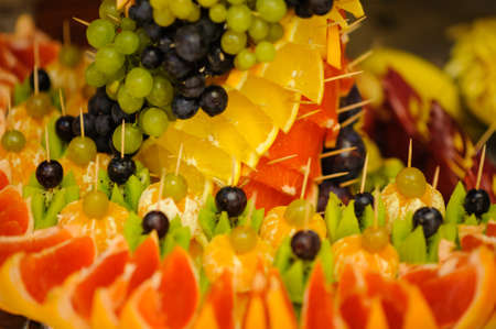 fruit decoration swan dessert wedding swan nice Stock Photo