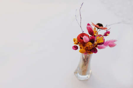 Bouquet Of Dried Flowers In Vase On Light Background Top View Stock