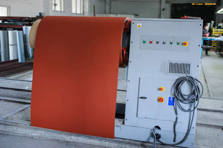 roof profile: metal sheet profiling mechine at manufacturing factory with new metal coil