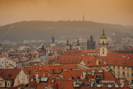 Czech Republic Prague on sunset dramatic sky