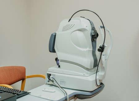 クローズ アップ: 眼科診療機器、光コヒーレンストモグラフィ (OCT) の断層レントゲン写真撮影