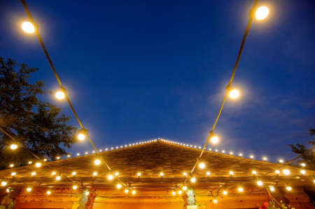 retro roof decoration with bulbs lights for night party and a romantic atmosphere