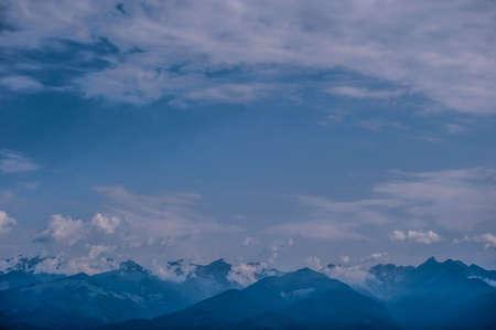 Beautiful blue Panoramic view of mountain and nice sky