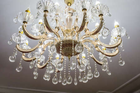 Retro antique ceiling light with crystal decoration.
