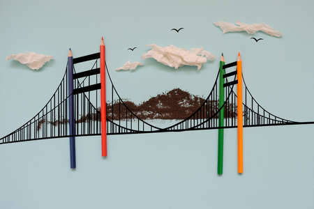 The London bridge drow and colorful pencils, blue background 写真素材