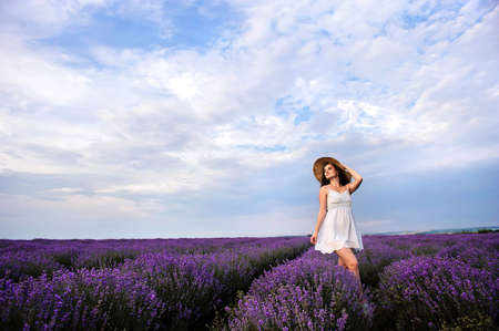 Portrait of a young woman in white dress and straw hat walking in the lavender field. Lavender flowers in bloom. Imagens