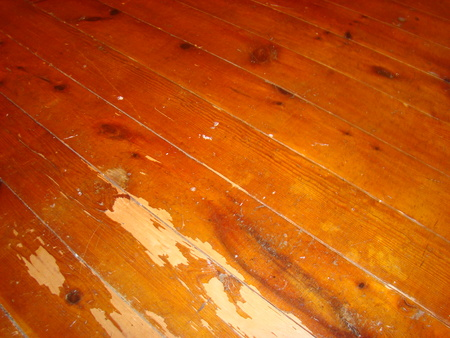 building feature: close up of an old worn hardwood floor
