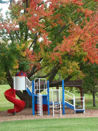 Park with red, white, & blue, playground in autumn photo