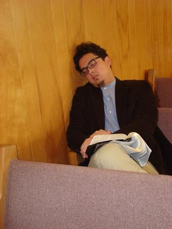 Man sleeping during church services