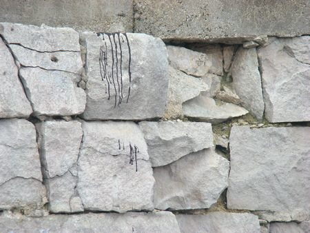 Close up of a crumbling wall photo