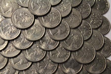 quarters: pyramid of quarters Stock Photo