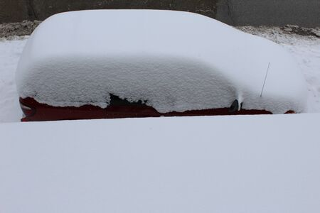 above view of a snow covered car photo