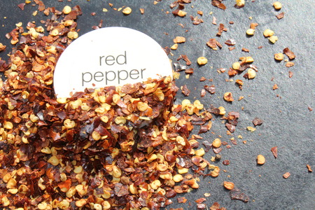 pepper flakes: Chili red pepper flakes on cast iron