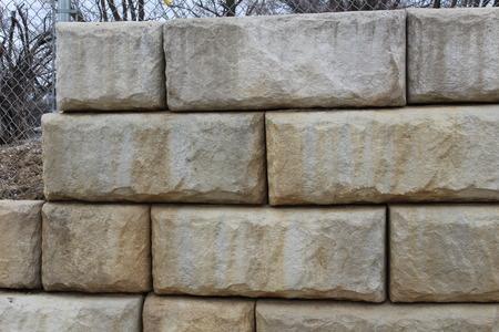 Large rectangular stone Retaining Wall Stock Photo