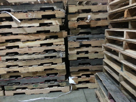 Wooden pallet stacks in a Distribution factory