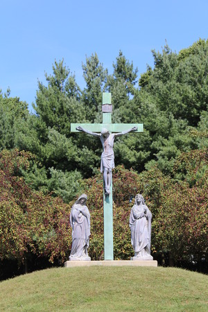 Jesus on the Cross on a grassy hill in front of trees