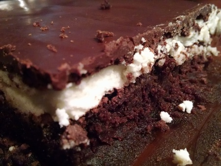 Homemade tripple layer peppermint chocolate brownies Stock Photo