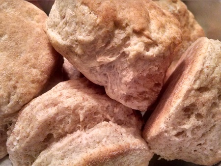 batch: Fresh batch of home made whole wheat buttermilk biscuits.