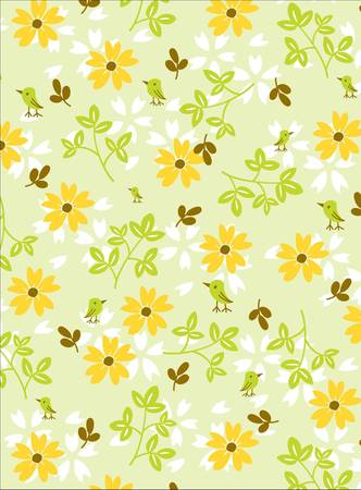 FLORAL: Graphic Floral Birdy in Green Illustration