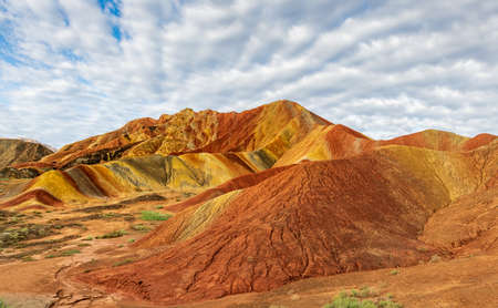 Linze County, Zhangye City, Gansu Province, colorful Danxia landform 版權商用圖片