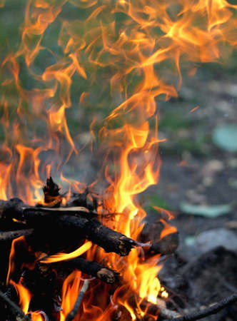 stoking: fire burns brightly