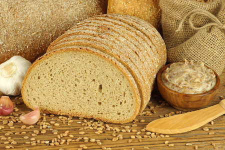 lard: Bread with lard Stock Photo