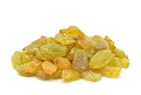 Raisins on a white background