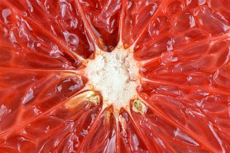 citrous: Cross section of red grapefruit