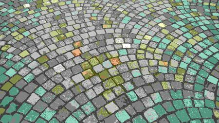 Cobblestone square of the old city of square stones. Illustration or drawing. Can be used as background. Stockfoto