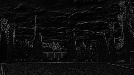 Image of a city park with pavement and trees. Contrast drawing on a black background and graphic image.