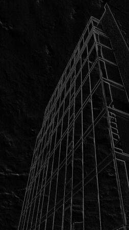 Image of an office modern building in the form of graphics on a black background. High-rise building with a glass facade in the metropolis. Look up
