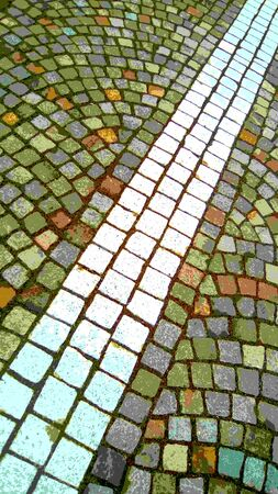 Illustrative image of a stone pavement in the old city. Autumn colors - yellow, green, blue, red, brown