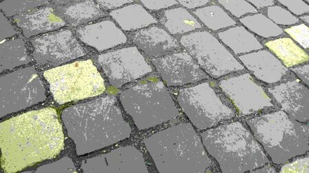 Image of square tiles in the cobblestone pavement of the old city. Gray, yellow, green swamp paints
