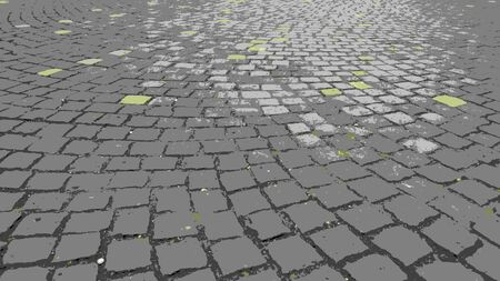 Square tiles in the cobblestone pavement of the old city. Gray, yellow, green colors