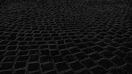 Monochrome graphic drawing of paving stones in an ancient square in the old city. Black background with gray pattern. A square-paved road in the old district of the city.