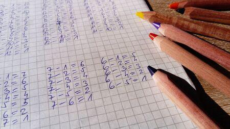 Esempi di sottrazioni di numeri sono scritti sulla pagina della cella del taccuino. Lezione di matematica. Facendo i compiti