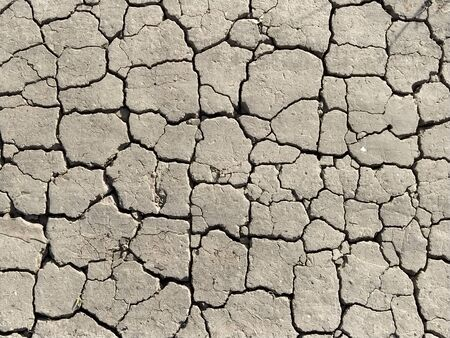 Cracks in the ground. Aridity. Gray soil. Desert. Close up of cracked mud. Texture.