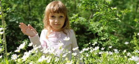 Cute girl with blond hair in the meadow. Wildflowers are white. Stellaria is a genus of flowering plants in the carnation family. Girl looks at the camera, raises her hand and smiles Banco de Imagens