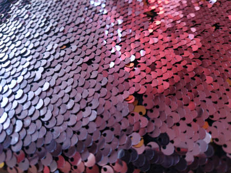 Pink sequins pattern texture fashion background. Embellishments on fabric. Banque d'images